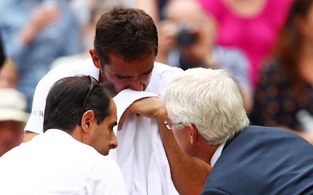 <span>Cilic sobs during one changeover</span>