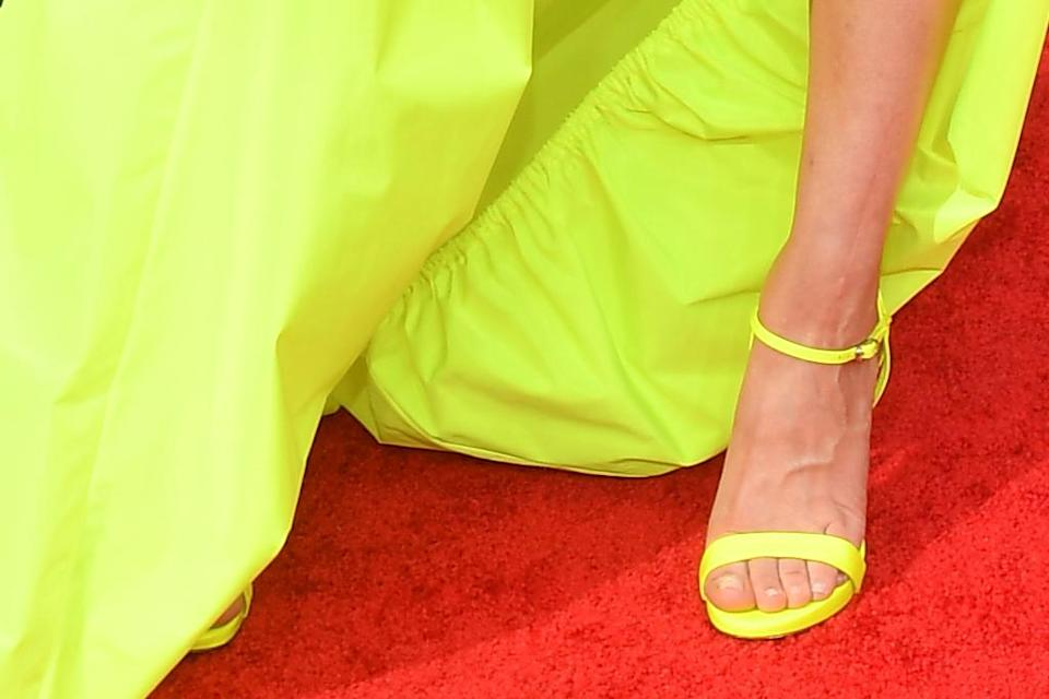 A closer view of Kaley Cuoco's heels. - Credit: Michael Buckner for Variety