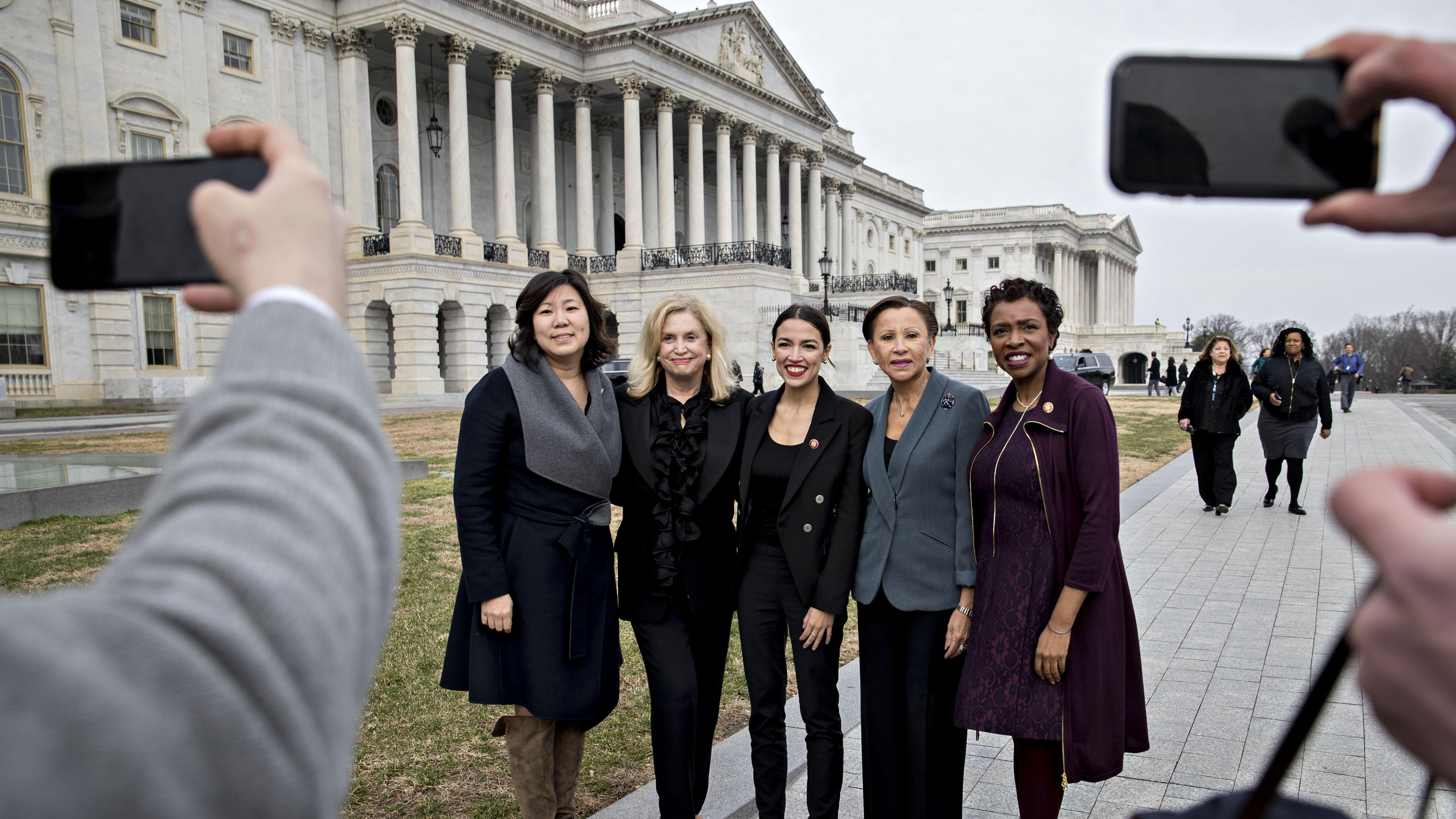 From left, Yvette Clarke, Nydia Velazquez, Alexandria Ocasio-Cortez, Carolyn Maloney and Grace Meng