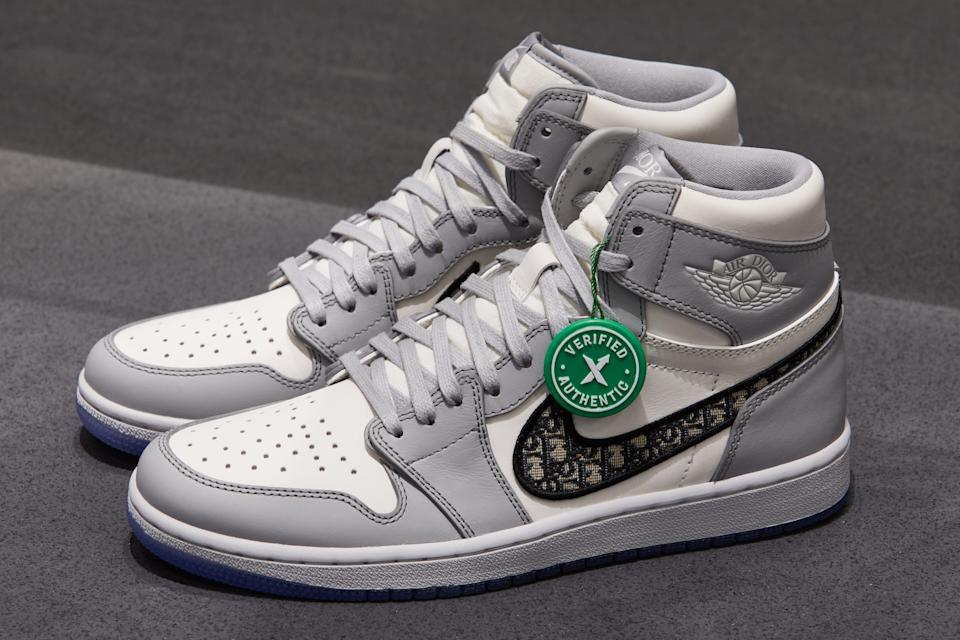 <p>The price is right? A pair of Jordan x Dior Jordan 1 Retro High sneakers, which regularly resell for more than £10,000</p> (Ed Reeve)