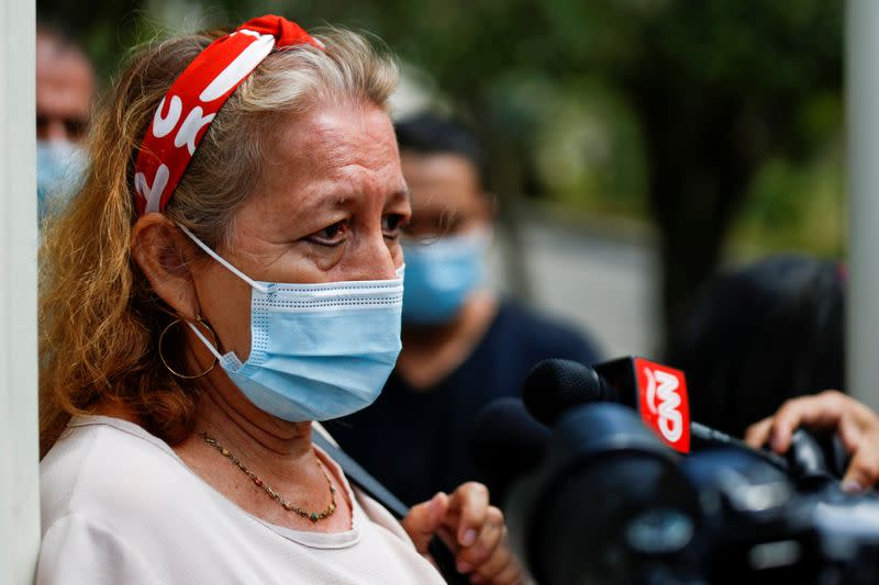 FILE PHOTO: Rosibel Emerita Arriaza, mother of Victoria Salazar Arriaza, speaks with the media in San Salvador