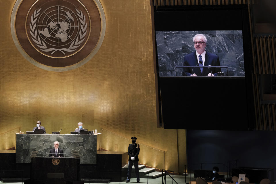 The President of Latvia Egils Levits speaks during the annual gathering for the 76th session of the United Nations General Assembly (UNGA) Tuesday, Sept. 21, 2021. (Spencer Platt/Pool Photo via AP)