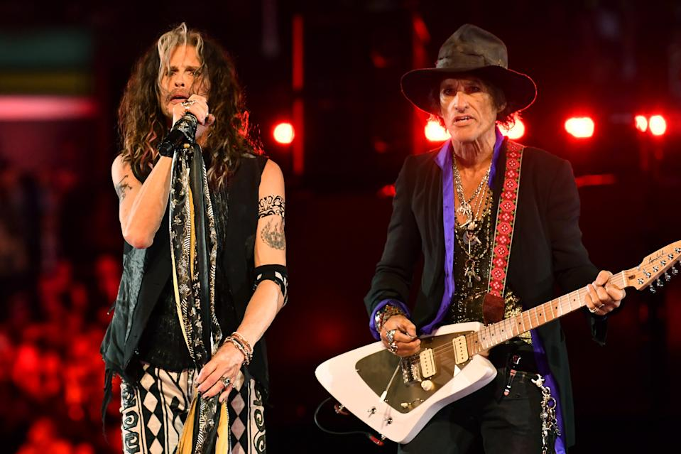 LOS ANGELES, CALIFORNIA - JANUARY 26: (L-R) Steven Tyler and Joe Perry of Aerosmith perform onstage during the 62nd Annual GRAMMY Awards at STAPLES Center on January 26, 2020 in Los Angeles, California. (Photo by Emma McIntyre/Getty Images for The Recording Academy)