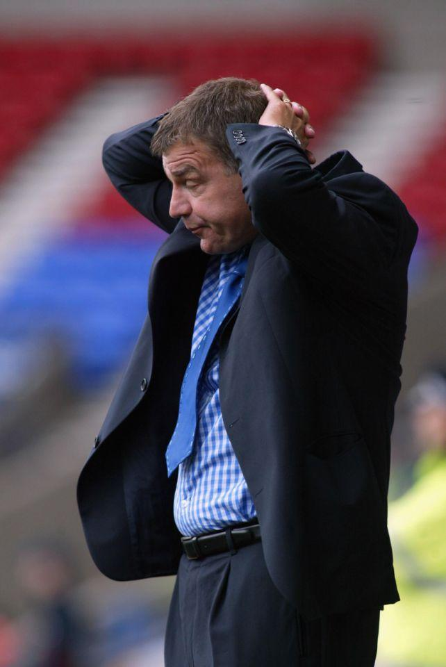 <p>2002: Feeling the strain as Bolton manager against Charlton </p>