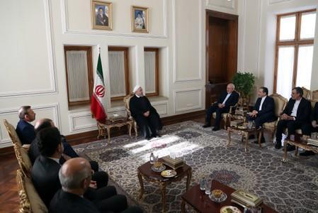Iranian President Hassan Rouhani meets with Iran's Foreign Minister Mohammad Javad Zarif and with deputies and Senior directors of the Ministry of Foreign Affairs in Tehran