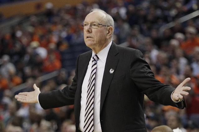Syracuse coach Jim Boeheim reacts to a call during the first half of a third-round game against the Dayton in the NCAA men's college basketball tournament in Buffalo, N.Y., Saturday, March 22, 2014. (AP Photo/Bill Wippert)