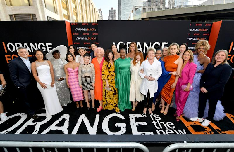 NEW YORK, NEW YORK - JULY 25: The cast including Selenis Leyva, Danielle Brooks, Diane Guerrero, Beth Dover, Jason Biggs, Jackie Cruz, Uzo Aduba, Alysia Reiner, Natasha Lyonne, Jessica Pimentel, Taylor Schilling, Laura Prepon, and Laverne Cox attend the Orange is the New Black Season 7, World Premiere Screening and Afterparty 2019 on July 25, 2019 in New York City. (Photo by Dia Dipasupil/Getty Images for Netflix)