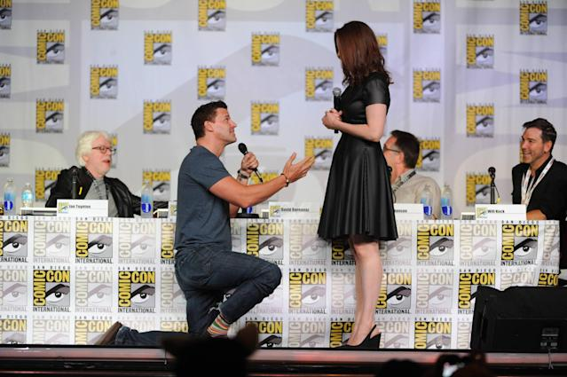 "David Boreanaz and Emily Deschanel at the ""Bones"" panel on Friday, July 19 during Fox Fanfare at San Diego Comic-Con 2013."