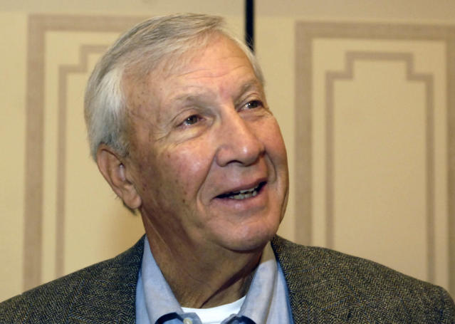 FILE - In this Dec. 6, 2005, file photo, former NCAA college football coach Pat Dye responds to a question during an interview in New York. Former Auburn coach Pat Dye, who took over a downtrodden football program in 1981 and turned it into a Southeastern Conference power, has died. He was 80. Lee County Coroner Bill Harris said Dye passed away Monday, June 1, 2020, at the Compassus Bethany House in Auburn, Ala. (AP Photo/Jason DeCrow, FIle)