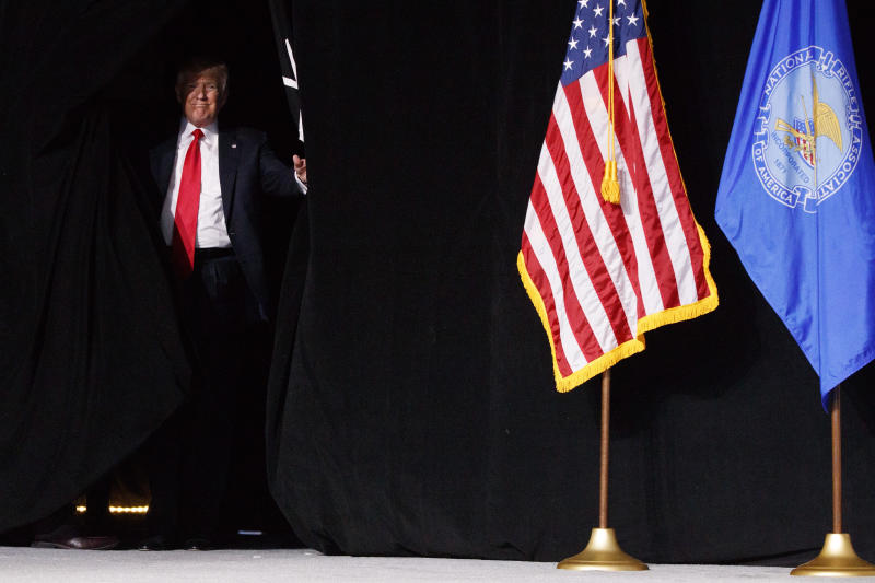 President Donald Trump arrives to speak at the National Rifle Association Leadership Conference, Friday, April 28, 2017, in Atlanta. (AP Photo/Evan Vucci)