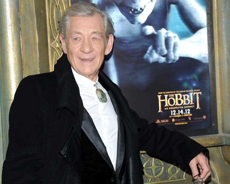 "FILE - This Dec. 6, 2012 file photo shows Ian McKellen attending the premiere of his film, ""The Hobbit: An Unexpected Journey"" at the Ziegfeld Theatre in New York.  Repeated filming delays almost caused Ian McKellen to quit his reprise as Gandalf the Grey in ""The Hobbit"" trilogy, a prequel to ""The Lord of the Rings"" in which he first played the wily wizard. But McKellen decided he ""must do it"" for both the fans and himself, despite his various doubts about returning to the role. (Photo by Evan Agostini/Invision/AP, file)"
