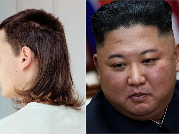 A picture of a mullet and North Korea's Kim Jong Un