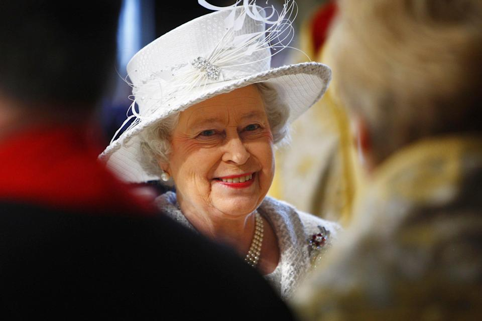 Britain's Queen Elizabeth smiles arrives for the service of celebration to mark the diamond wedding anniversary of Queen Elizabeth II and the Duke of Edinburgh at Westminster Abbey, London.   (Photo by Kieran Doherty - PA Images/PA Images via Getty Images)