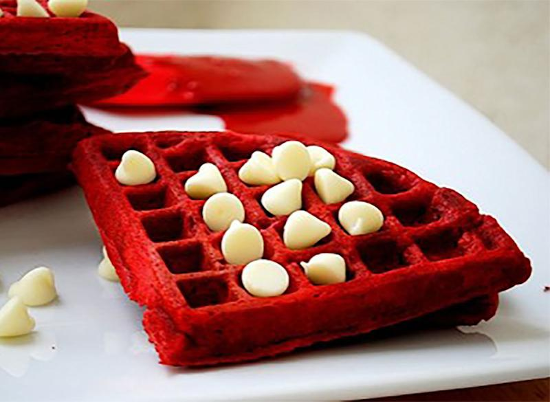 red velvet waffles with chocolate chips