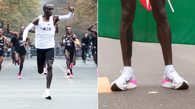 Eliud Kipchoge, pictured here using the controversial Nike shoes.