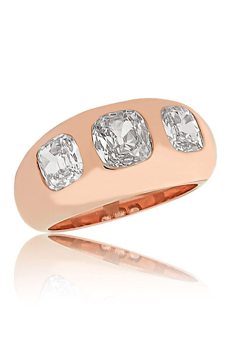 "<p>Chunky engagement bands are replacing the delicate stackables brides have been collecting the past few years. Without sacrificing a statement center stone, these bands feature a bezel-set center stone that still gives the look a wow factor no matter how many bands you wear alongside it.</p><p><em><strong>Stephen Russell </strong>Diamond Ring with Moghul Cut Diamonds in 20K Rose Gold, price upon request, <a href=""http://stephenrussell.com/"" rel=""nofollow noopener"" target=""_blank"" data-ylk=""slk:stephenrussell.com"" class=""link rapid-noclick-resp"">stephenrussell.com</a>.</em></p><p><a class=""link rapid-noclick-resp"" href=""http://stephenrussell.com/"" rel=""nofollow noopener"" target=""_blank"" data-ylk=""slk:SHOP"">SHOP</a></p>"
