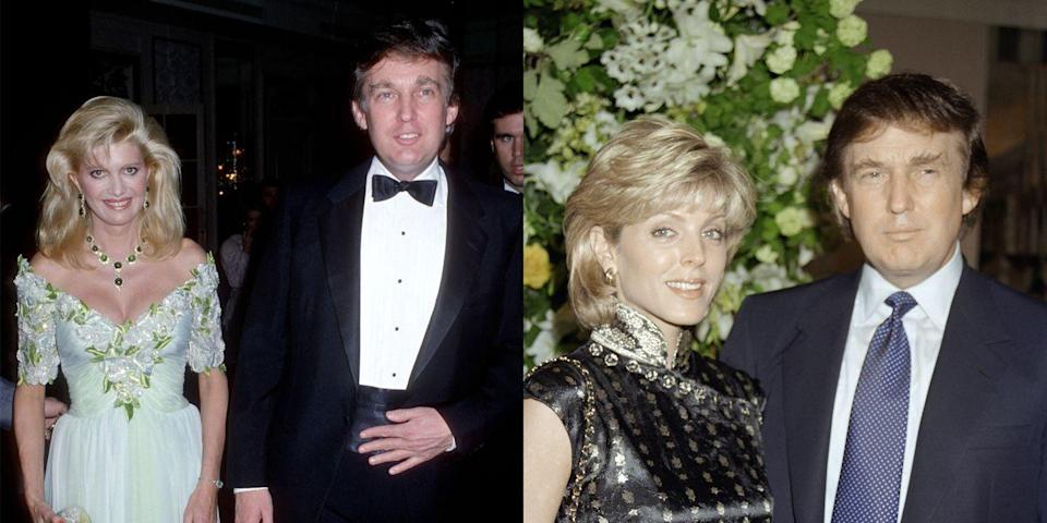 "<p>Before he was with Melania, the current POTUS was married twice. His first marriage to Ivana Trump ended <a href=""https://www.marieclaire.com/culture/g19123551/most-expensive-celebrity-divorce-settlements/?slide=6"" rel=""nofollow noopener"" target=""_blank"" data-ylk=""slk:after reports of his affair"" class=""link rapid-noclick-resp"">after reports of his affair</a> with Maples (she became his second wife).</p>"