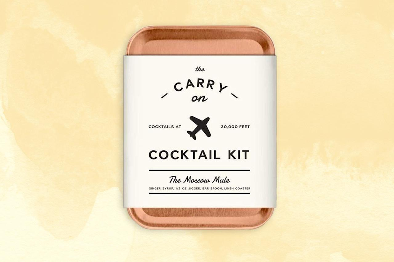 """<p>When these BYO cocktail kits first hit the market, I was skeptical. For starters, why? But the more I travel, the more I see it: <a href=""""https://www.cntraveler.com/galleries/2014-09-23/photos-the-best-airport-food-in-the-world?mbid=synd_yahoo_rss"""" target=""""_blank"""">Most airport bars</a> are only good for a standard mixed well drink or a beer; your average airline wine offerings are fairly middling. Since you can rely on the drinks cart for solid liquor access, though, why not up your game and mix a proper cocktail in flight? Your gift recipient will thank you. After all, life's too short for bad drinks.</p> <p><strong>Buy Now:</strong> <a href=""""https://amzn.to/2RDogui"""" rel=""""nofollow"""" target=""""_blank""""><strong>$37, amazon.com</strong></a></p>"""