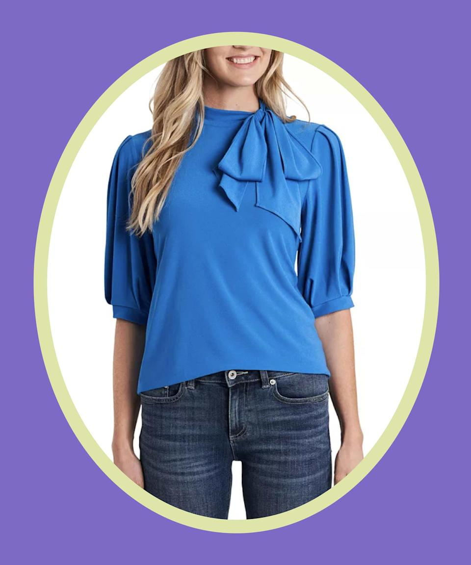 """<br><br><strong>CeCe</strong> Puff-Sleeve Bow-Neck Top, $, available at <a href=""""https://go.skimresources.com/?id=30283X879131&url=https%3A%2F%2Fwww.macys.com%2Fshop%2Fproduct%2Fcece-puff-sleeve-bow-neck-top%3FID%3D11734262%26CategoryID%3D255%26cm_kws%3D11734262"""" rel=""""nofollow noopener"""" target=""""_blank"""" data-ylk=""""slk:Macy's"""" class=""""link rapid-noclick-resp"""">Macy's</a>"""