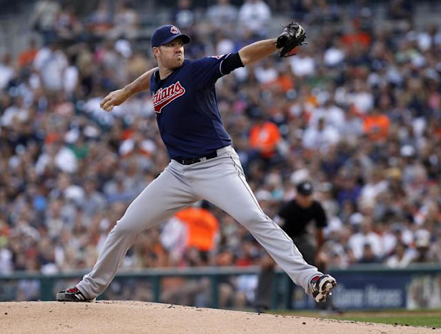 Cleveland Indians' Zach McAllister pitches against the Detroit Tigers in the first inning of a baseball game on Friday, Aug. 30, 2013, in Detroit. (AP Photo/Duane Burleson)