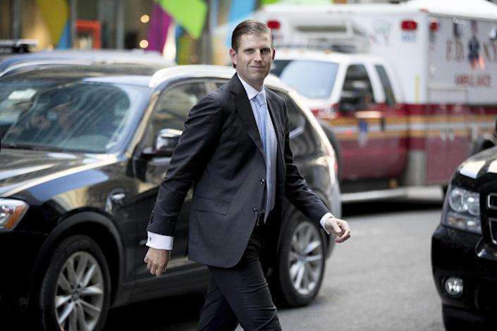 Eric Trump, son of President-elect Donald Trump, arrives at Trump Tower, in New York, Friday, Jan. 6, 2017. (AP Photo/Andrew Harnik)