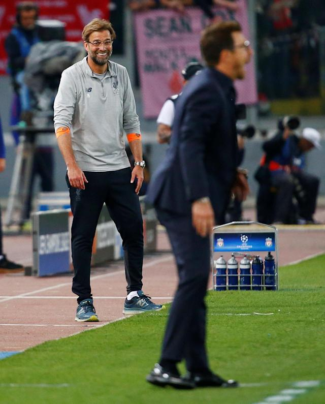 <p>Soccer Football – Champions League Semi Final Second Leg – AS Roma v Liverpool – Stadio Olimpico, Rome, Italy – May 2, 2018 Liverpool manager Juergen Klopp reacts as he looks towards Roma coach Eusebio Di Francesco REUTERS/Tony Gentile </p>