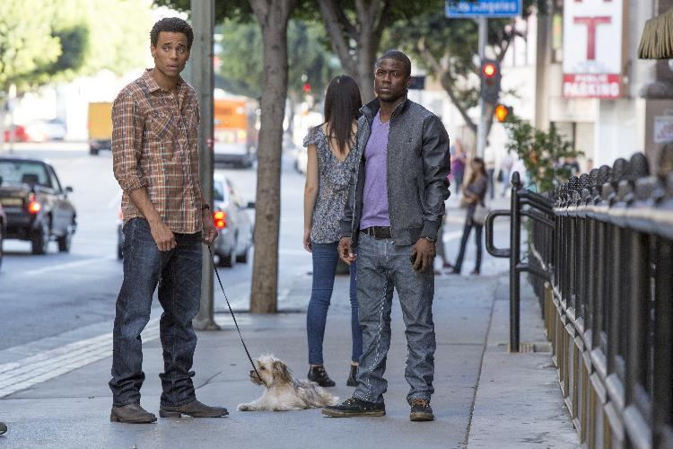 "This image released by Sony Pictures shows Michael Ealy, left, and Kevin Hart in a scene from ""About Last Night."" (AP Photo/Sony Pictures, Matt Kennedy)"