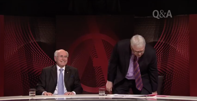 A photo of Tony Jones during the infamous shoe-throwing Q&A episode with former Prime Minster John Howard in 2010.