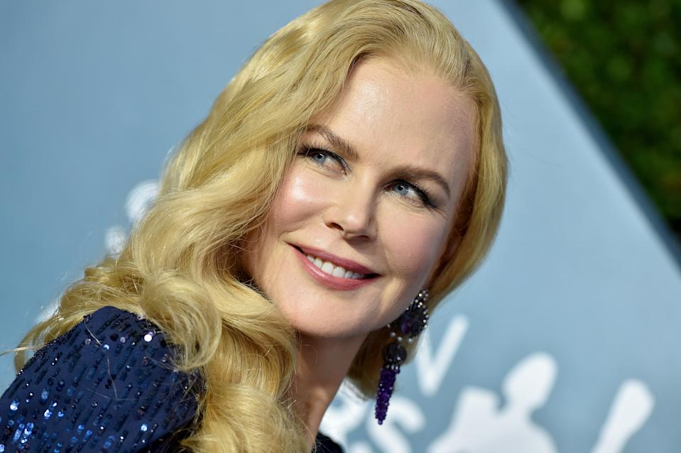 Nicole Kidman wears a blue beaded gown at the 26th Annual Screen Actors Guild Awards at The Shrine Auditorium on January 19, 2020 in Los Angeles, California