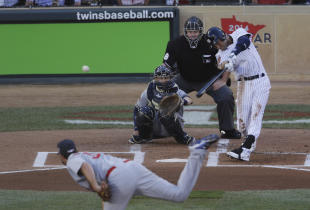 Derek Jeter doubles during the first inning of the All-Star Game. (AP)