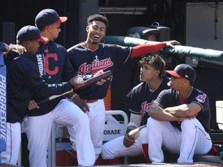 FILE PHOTO: Sep 9, 2017; Cleveland, OH, USA; Cleveland Indians shortstop Francisco Lindor (middle) celebrates his solo home run with teammates in the seventh inning against the Baltimore Orioles at Progressive Field. Mandatory Credit: David Richard-USA TODAY Sports