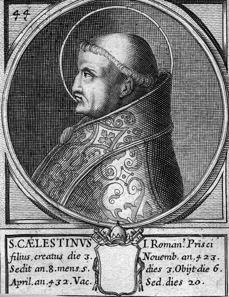 Circa 432 AD, Pope Celestine I, ( ? - 432), pope from 422 to 432. (Photo by Hulton Archive/Getty Images)