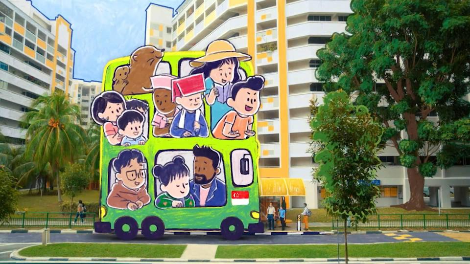 A busload of animated characters, including those of Sezairi, Shye and Shabir in the lower level, come to pick Linying up from the bus stop.