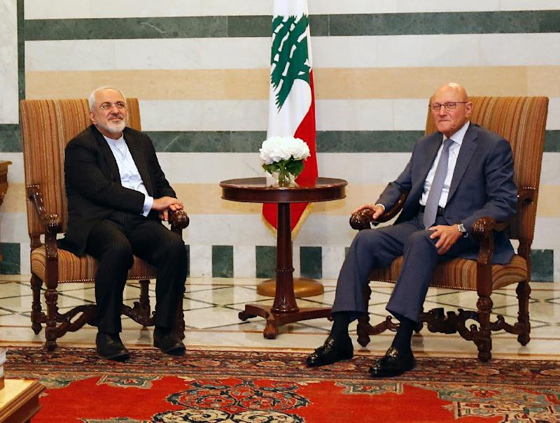 Lebanese Prime Minister Tammam Salam (R) meets with Iranian Foreign Minister Mohammad Javad Zarif on August 11, 2015 at the Government Palace in the capital Beirut
