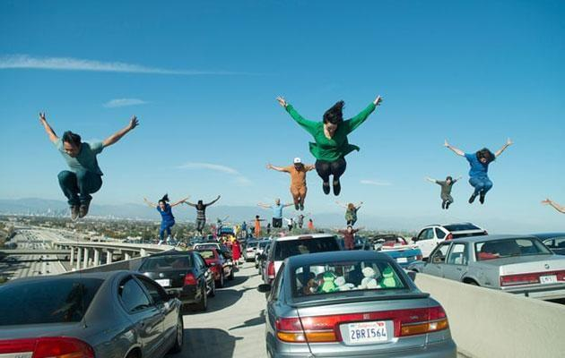 The video is a nod to the epic opening number of Emma's film <i>La La Land</i>. Source: Lionsgate/Entertainment One