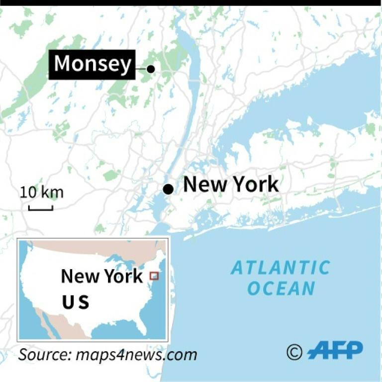 Map of New York and surrounding area locating stabbing in Monsey