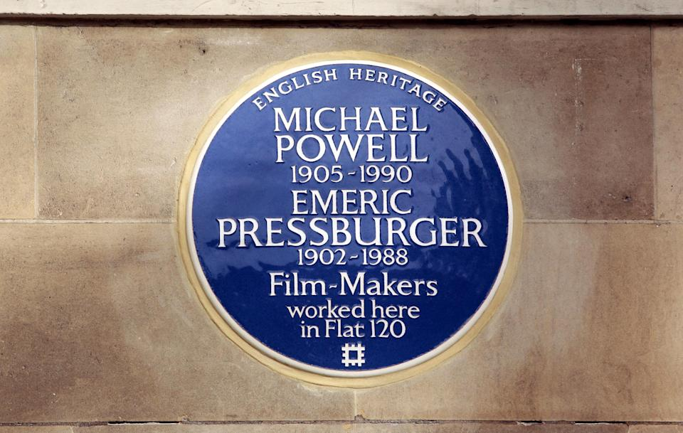 English Heritage blue plaque to filmmakers Michael Powell and Emeric Pressburger unveiled by Martin Scorsese at Dorset House in London. (Photo by Sean Dempsey/PA Images via Getty Images)