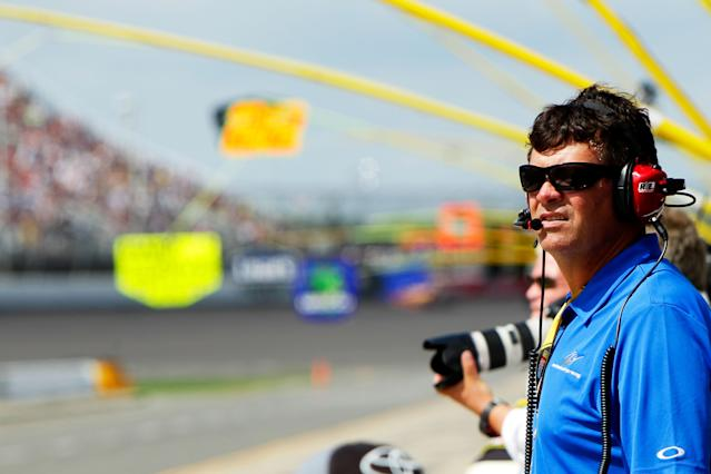 BROOKLYN, MI - JUNE 17: Team owner Michael Waltrip watches the NASCAR Sprint Cup Series Quicken Loans 400 at Michigan International Speedway on June 17, 2012 in Brooklyn, Michigan. (Photo by Wesley Hitt/Getty Images for NASCAR)