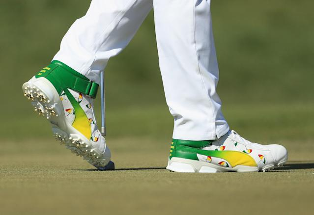 "<div class=""caption""> Padron designed these Puma high-top shoes for Rickie Fowler to honor The King at the 2018 Arnold Palmer Invitational. </div> <cite class=""credit"">Mike Ehrmann/Getty Images</cite>"