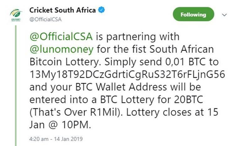 bitcoin scam twitter cricket south africa