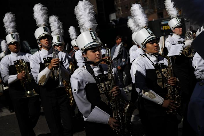 The Paramus Catholic High School marching band participates in the 75th annual Columbus Day Parade in Midtown Manhattan on October 14, 2019 in New York City.