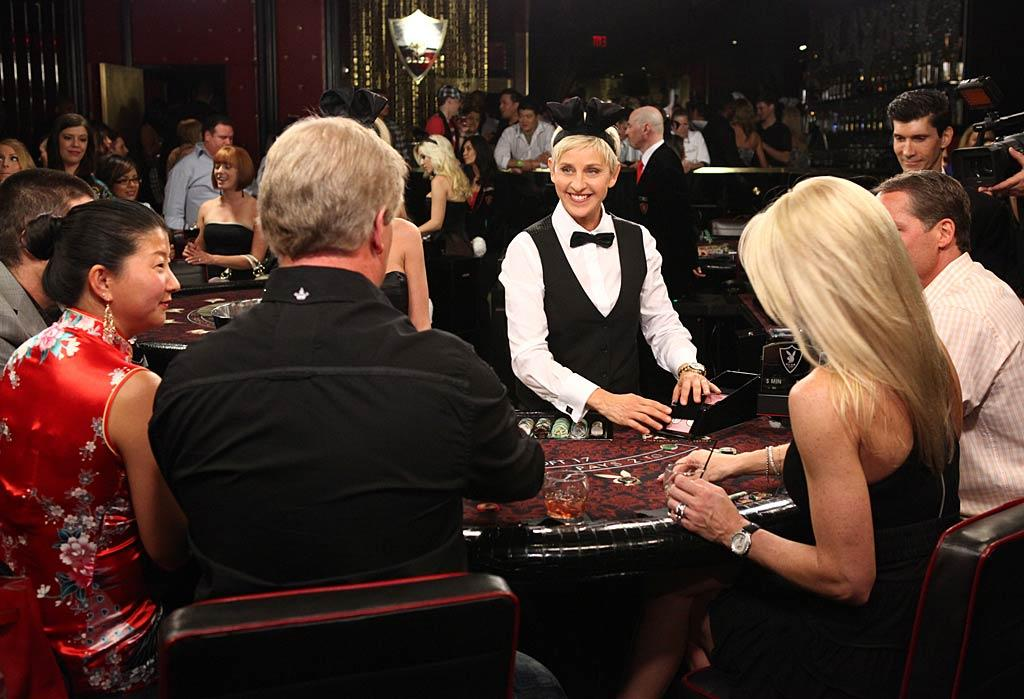 Patrons sitting down to play a little blackjack at the Playboy Club inside the Palms Casino Resort in Las Vegas got quite the surprise recently. Their dealer donning the signature bunny ears was actually ... Ellen DeGeneres! Ellen's little experiment will air on her May 23rd show. Michael Bozman/NBC