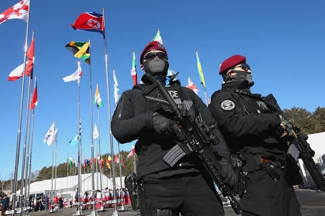 <p>Riot Police patrol during the PyeongChang 2018 Olympic Village opening ceremony at the PyeongChang 2018 Olympic Village Plaza on February 1, 2018 in Pyeongchang-gun, South Korea. (Alexander Hassenstein/Getty Images) </p>