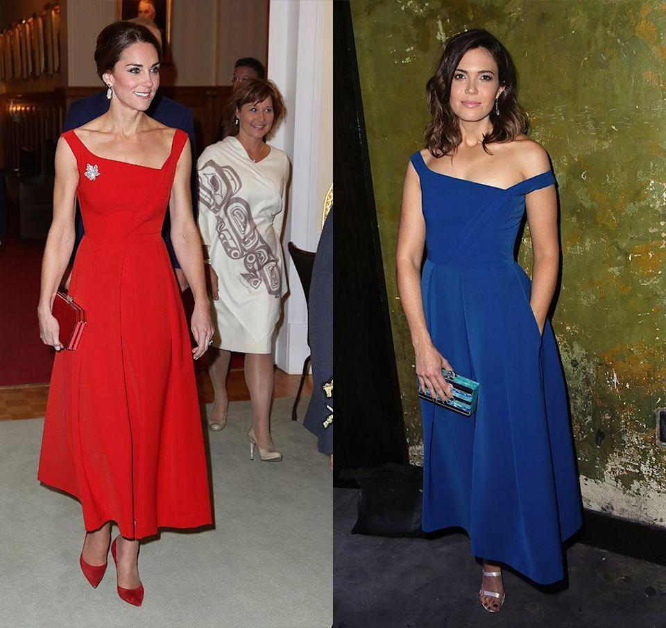 """<p>Mandy Moore wore the blue version of the Preen by Thornton Bregazzi tea-length dress Kate Middleton wore during her 2016 royal tour of Canada. Of course, the Duchess added a few royal touches, like her <a href=""""https://www.harpersbazaar.com.sg/watches-jewels/kate-middleton-maple-leaf-brooch-jewellery/"""" rel=""""nofollow noopener"""" target=""""_blank"""" data-ylk=""""slk:diamond maple leaf broach"""" class=""""link rapid-noclick-resp"""">diamond maple leaf broach</a>.</p>"""