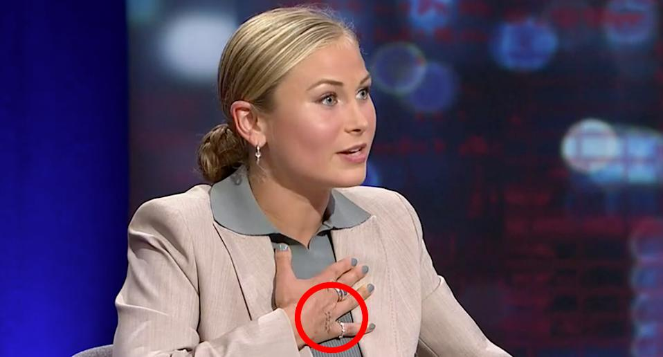 Grace Tame explained the meaning of one of her hand tattoos. Source: ABC