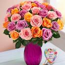 "<p><strong>1-800-Flowers</strong></p><p>1800flowers.com</p><p><a href=""https://go.redirectingat.com?id=74968X1596630&url=https%3A%2F%2Fwww.1800flowers.com%2Fflowers%2Fspring-sorbet-bouquet-100704%3FcategoryId%3D400065018&sref=https%3A%2F%2Fwww.goodhousekeeping.com%2Fholidays%2Fmothers-day%2Fg5187%2Fmothers-day-flowers%2F"" rel=""nofollow noopener"" target=""_blank"" data-ylk=""slk:Shop Now"" class=""link rapid-noclick-resp"">Shop Now</a></p><p>$40 and up </p><p>Keep it classic and sweet by gifting her a centerpiece-worthy rose bouquet with either one or two dozen stems. This refreshing mix leans on spring's prettiest colors: pink, orange, and lavender. </p>"