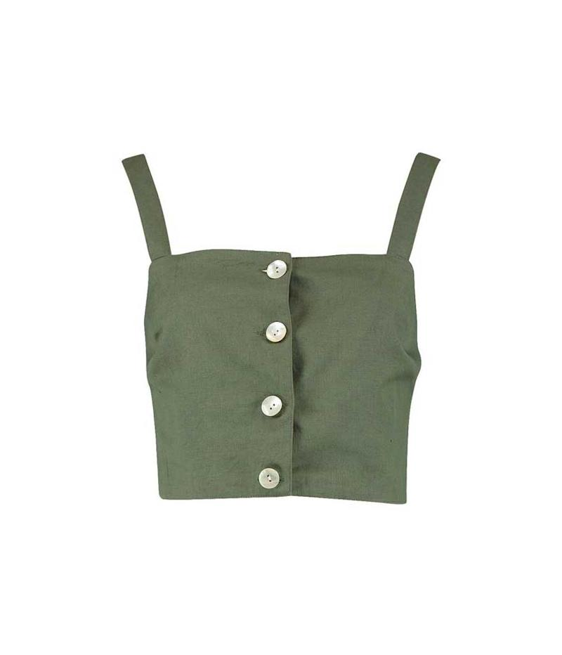 Green button crop top. (