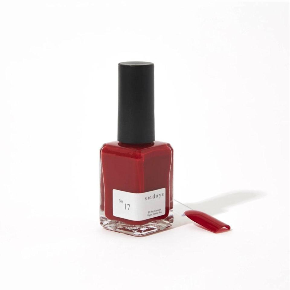 """The formulas from Sundays are vegan, nontoxic, and 10-free, and shade number 17 is my go-to. It's a deep shade of red (very elegant!) that goes on smooth, and lasts at least a few days without chipping. <em>—Talia Abbas, associate commerce editor</em> $18, Sundays. <a href=""""https://dearsundays.com/product/nail-polish/colors/no-17/"""" rel=""""nofollow noopener"""" target=""""_blank"""" data-ylk=""""slk:Get it now!"""" class=""""link rapid-noclick-resp"""">Get it now!</a>"""