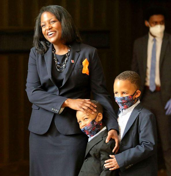 PHOTO: Fabiana Pierre-Louis stands alongside her two sons as she is nominated to the New Jersey Supreme Court during a news conference where she nominated in Trenton, N.J., June 5, 2020. (Chris Pedota/Pool via AP)