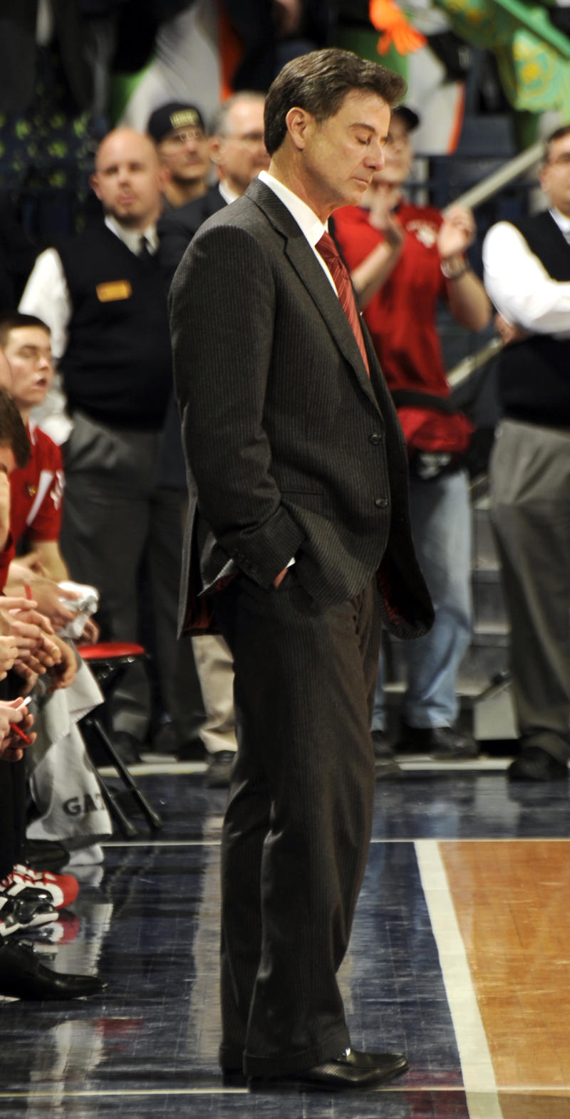 Louisville coach Rick Pitino reacts during overtime in an NCAA college basketball game with Notre Dame Wednesday, Feb. 9, 2011 in South Bend, Ind. Louisville loss 89-79.  (AP Photo/Joe Raymond)